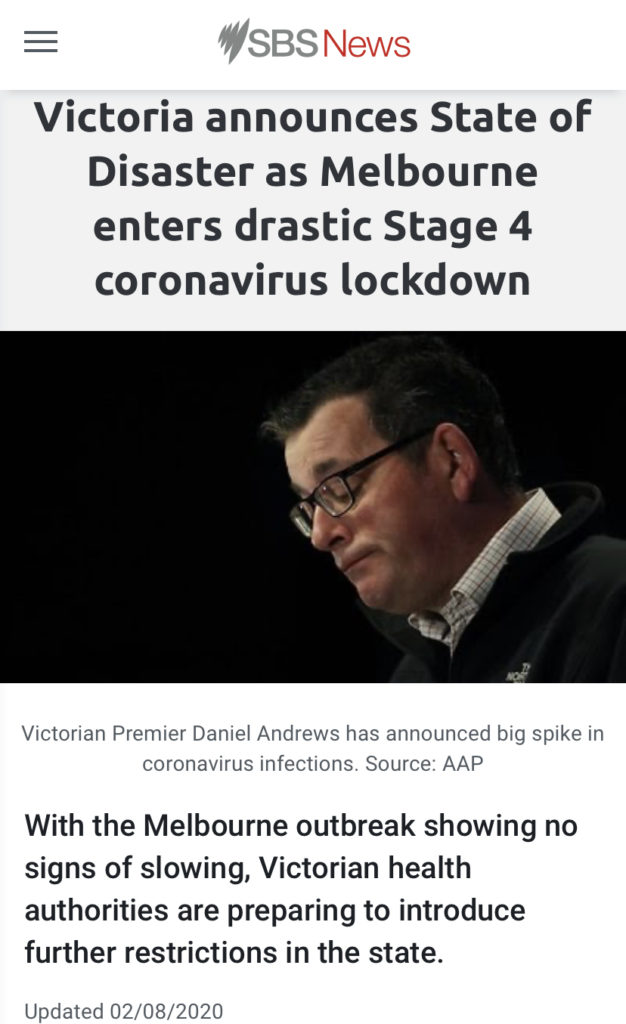 オーストラリア メルボルン昨日の夜からステージ4のロックダウンとなりました